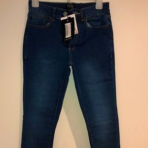 "BoohooMAN size 28r mid-blue ""super skinny"" jeans"